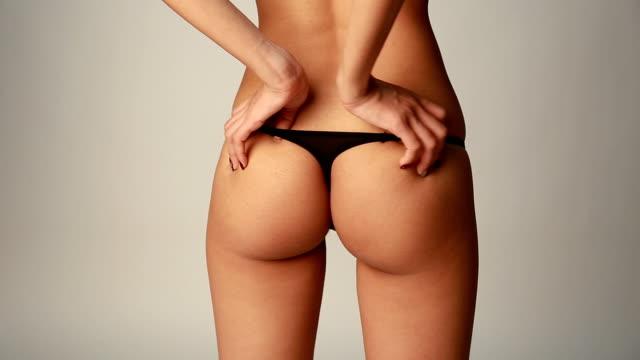 Asian girl in black panties