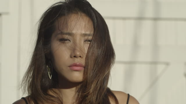 Asian girl portrait into lens