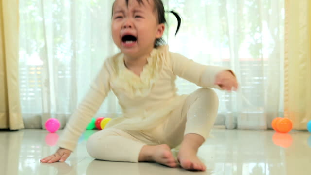 Asian little girl crying