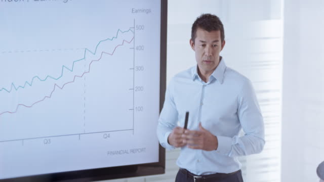 Asian male giving a financial presentation to his colleagues in the conference room
