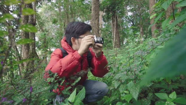 Asian man using film camera to take pictures of flower in the nature