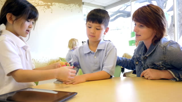 Asian students in private elementary school studying solar system model with teacher