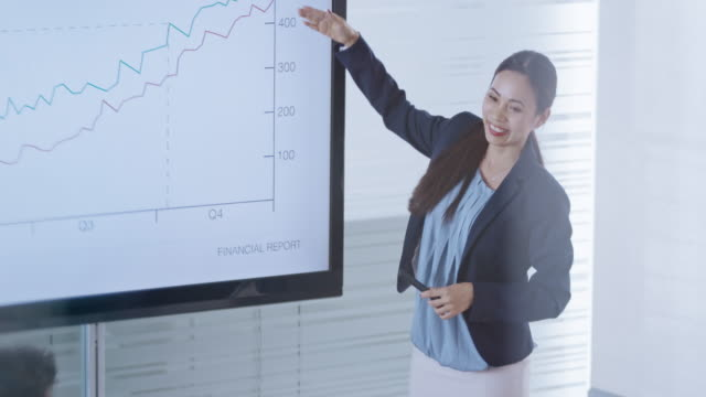 Asian woman ending the financial presentation in the conference room and her colleague are applauding
