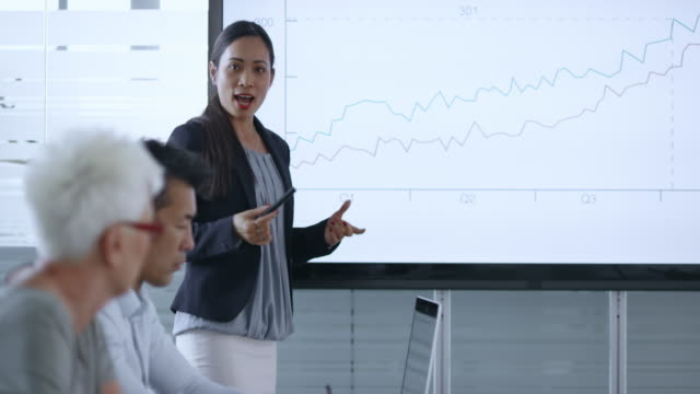 Asian woman giving a detailed financial presentation to colleagues in the meeting room
