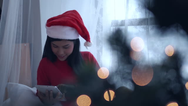 Asian woman online Shopping on Christmas Event