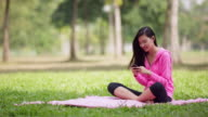 WS Asian woman sitting in a park texting on her phone.