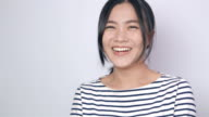 Asian woman so happy