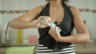 Asian woman squeeze the bottle for recycle bin various scene