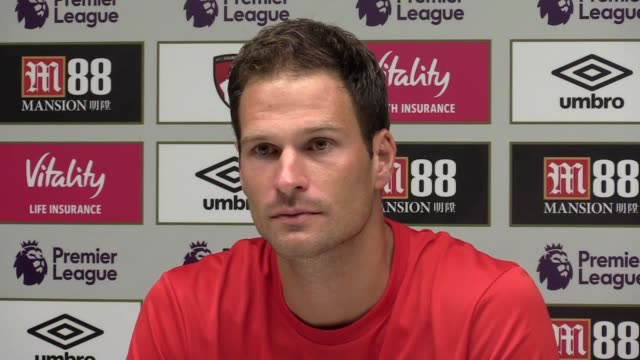Asmir Begovic speaks to the press after signing for Bournemouth from Chelsea