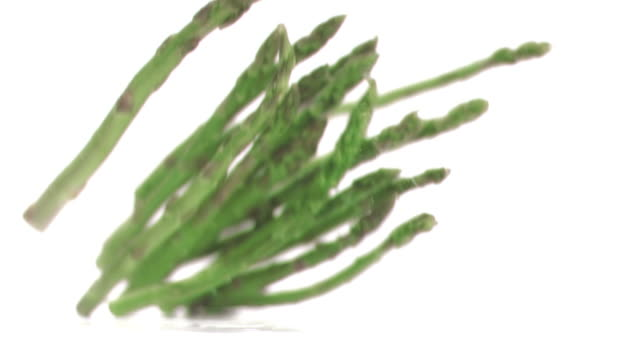 Asparagus falling in super slow motion
