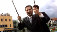 HD: Assistant Pushing His Manager On A Swing