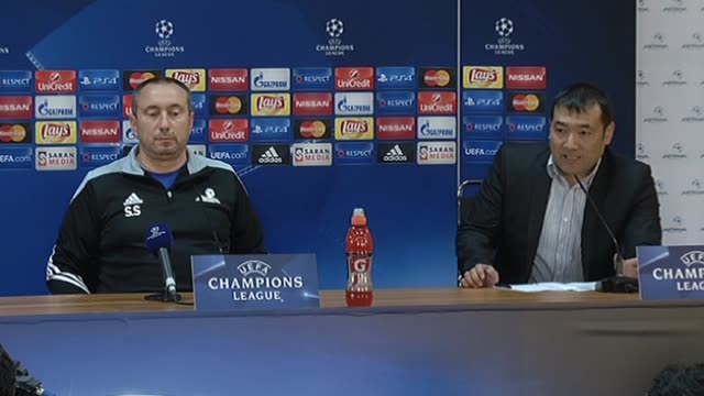Astana's head coach Stanimir Stoilov and Astana's defender Yeldos Akhmetov attend a press conference in Astana Kazakhstan on September 29 2015 ahead...