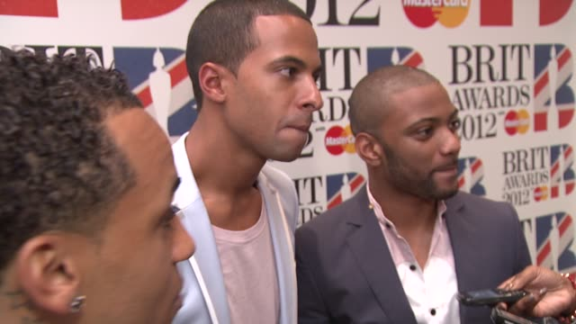 Aston Merrygold Marvin Humes and Jonathan 'JB' Gill of JLS at The BRIT Awards 2012 Nominations Announcement at The Savoy Hotel on January 12 2012 in...