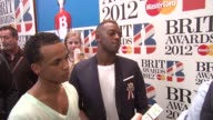 Aston Merrygold Oritsé Williams of JLS at The BRIT Awards 2012 Nominations Announcement at The Savoy Hotel on January 12 2012 in London England