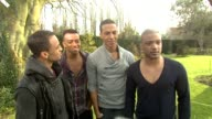 Aston Merrygold Ortise Williams Marvin Humes Jonathan 'JB' Gill on wokting on the Walker's commercial performing at a college as part of the...