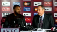Aston Villa sign Darren Bent INT Bent shirt hanging next to table / Bent arriving at press conference then sitting next Houllier / Bent and Houllier...