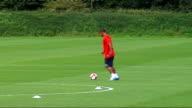 Warwickshire Bodymoor Heath EXT Aston Villa players training on pitch kicking ball including Gabriel Agbonlahor Wayne Routledge Martin Laursen Craig...