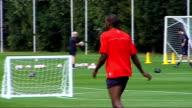 Aston Villa training More of Aston Villa players training on pitch playing football including Petrov Laursen Gardner Harewood ReoCoker