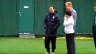 Aston Villa training More of Aston Villa players training on pitch playing football being watched by Martin O'Neill including Davies Petrov Gardner...