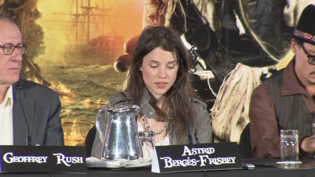 Astrid BergesFrisbey on her character acting in water Rob and more at the Pirates of the Caribbean On Stranger Tides Press Conference at London...