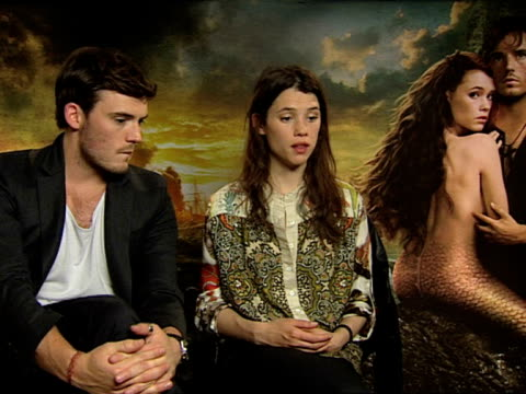 Astrid BergesFrisbey Sam Clafin on their characters at the Pirates of the Caribbean On Stranger Tides junkets at London England