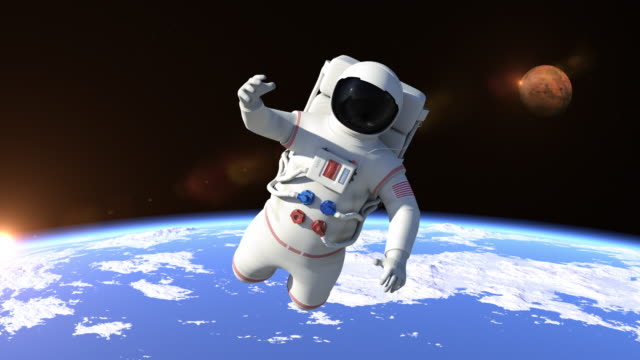 Astronaut Flying Over The North Pole - Close Up