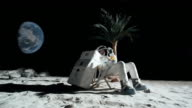 WS SLO MO Astronaut on moon sitting in reclining beach chair, drinking cocktail / Berlin, Germany