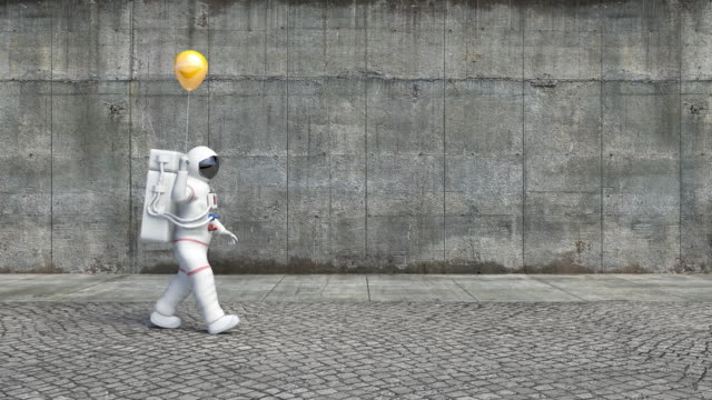 Astronaut Walking On A City Sidewalk Holding A Balloon