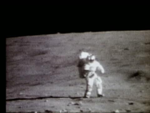 Astronaut working on Moon surface