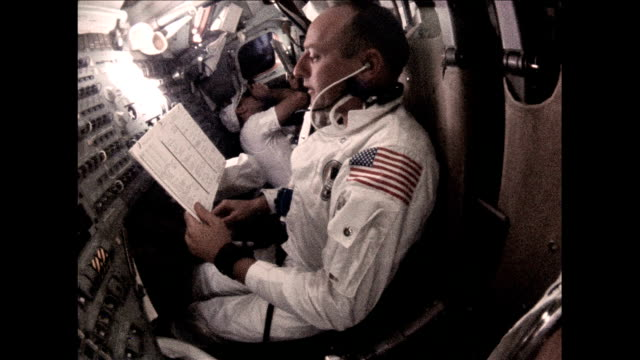 / astronauts Charles Conrad Alan Bean and Richard Gordon living inside Command Module shaving and taking pictures out the window Apollo 12 astronauts...
