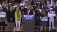 At a rally in Orlando US Republican presidential candidate Donald Trump asks the media to turn the cameras to show the crowd and scolds them for...
