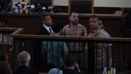 At a retrial in Cairo Mohamed Fahmy Peter Greste Baher Mohamed were convicted of spreading false news Showing Interior shots Marwa Fahmy wife of...