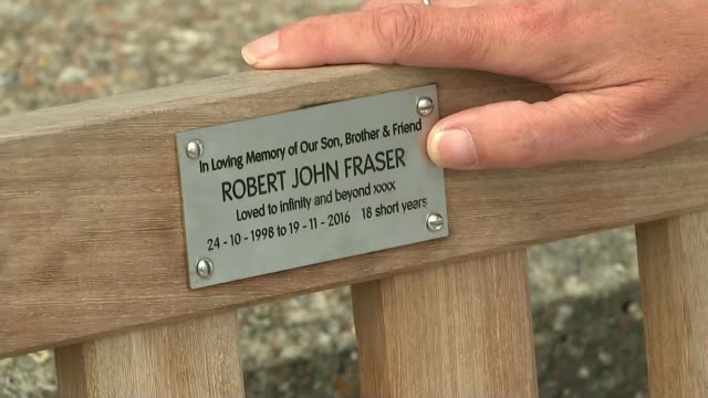 At least 60 drug deaths IN UK linked to Fentanyl Kent Deal EXT Michelle Fraser seated on memorial bench in memory of her son and standing looking out...