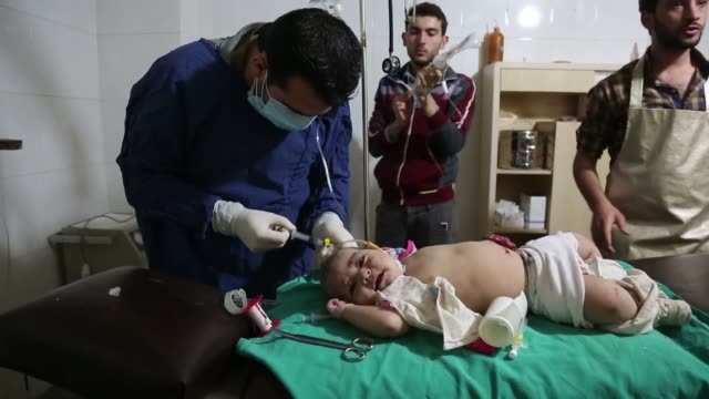 At least one child was killed on October 20 2017 when Syrian regime warplanes attacked the Kafr Batna region of Eastern Ghouta which is located...