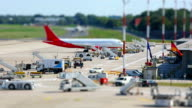 At the airport - time lapse with tilt shift
