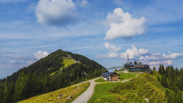 T/L at Wallberg with the summit and an alpine hut