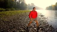 HD SUPER SLOW-MO: Athlete Doing Stretching Exercises