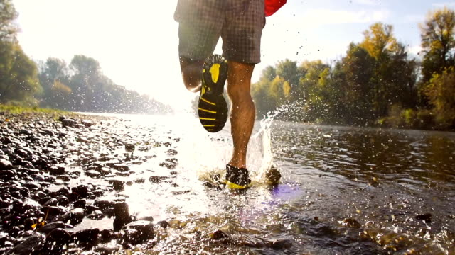 HD: Athlete Splashing In The River