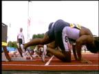 Athletes take marks Men's 100m heat 1 2004 Crystal Palace Athletics Grand Prix London