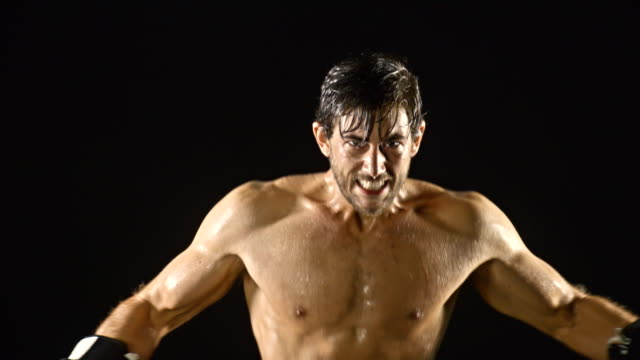 Athletic Male Boxing Slow-Motion