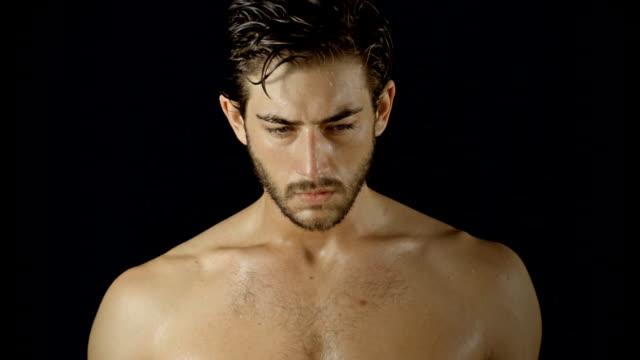 Athletic Male Portrait Boxing Slow-Motion