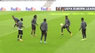 Atiker Konyaspor players take part in a training session led by head coach Mustafa Resit Akcay at Stade Velodrome in Marseille France on September 13...