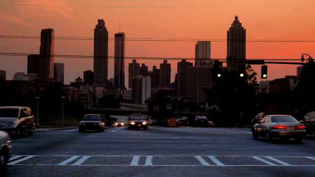Atlanta City Building Skyline and Traffic
