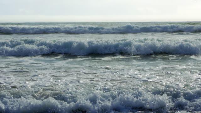 Atlantic Ocean Waves Rolling Onto Stone Beach