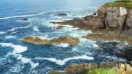 Atlantic Waves Breaking Against Rough Sea Cliffs