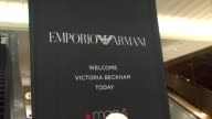 Signage at the Victoria Beckham Reveals New Emporio Armani Underwear Campaign at Macy's at New York NY