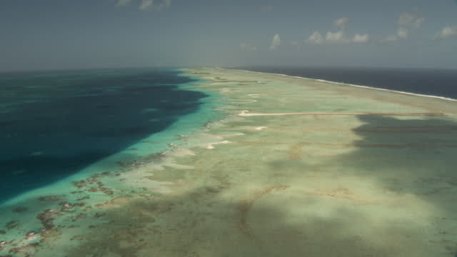 Atoll reef at edge of tropical lagoon, Rangiroa, French Polynesia