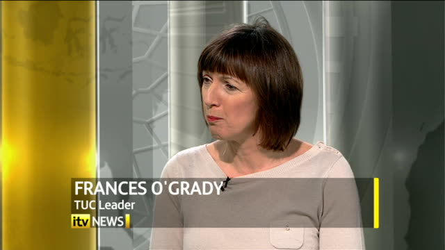 TUC attack government welfare and benefit reforms ENGLAND London GIR INT Frances O'Grady LIVE studio interview SOT talks of workers with low pay job...