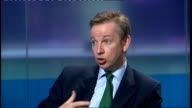 MP attacks 'lads' magazines ENGLAND London INT Michael Gove MP studio interview SOT talks of men's magazines looking at sex in narrow environment /...