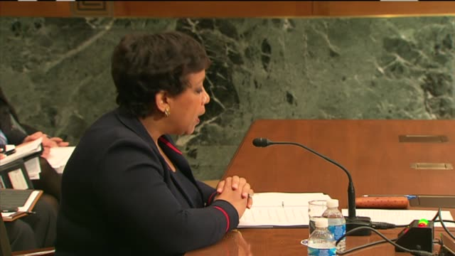 Attorney General Loretta Lynch describes the Justice Department budget request to a Senate Appropriations subcommittee with critical measures to...